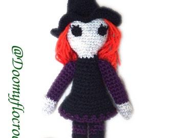 Halloween pumpkin witch doll decorative crocheted