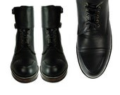 BYRON Double BUCKLE  Black Leather Combat Boots.