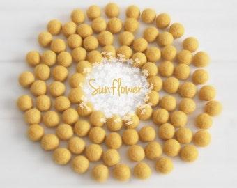 Wool Felt Balls - Size, Approx. 2CM - (18 - 20mm) - 25 Felt Balls Pack - Color Sunflower-6030 - Yellow Felt Balls - 2CM Sunflower Felt Balls