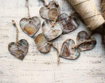 Nautical wedding favors wooden heart ornaments rustic bridal shower seashells sea beach wedding boho wedding favors
