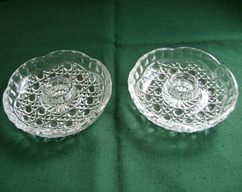 Vintage Glass Candle Holders, Pair, Windsor Pattern, Faceted Glass, Federal Glass, Indiana Glass, Octagon Hobnail, Cane Pattern
