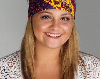 Running or Yoga Headband Tribal Aztec FLAWLESS headbands by Manda Bees - FELIX