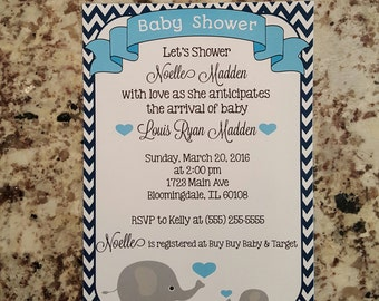 Printable Elephant Baby Shower Invite -MMS001