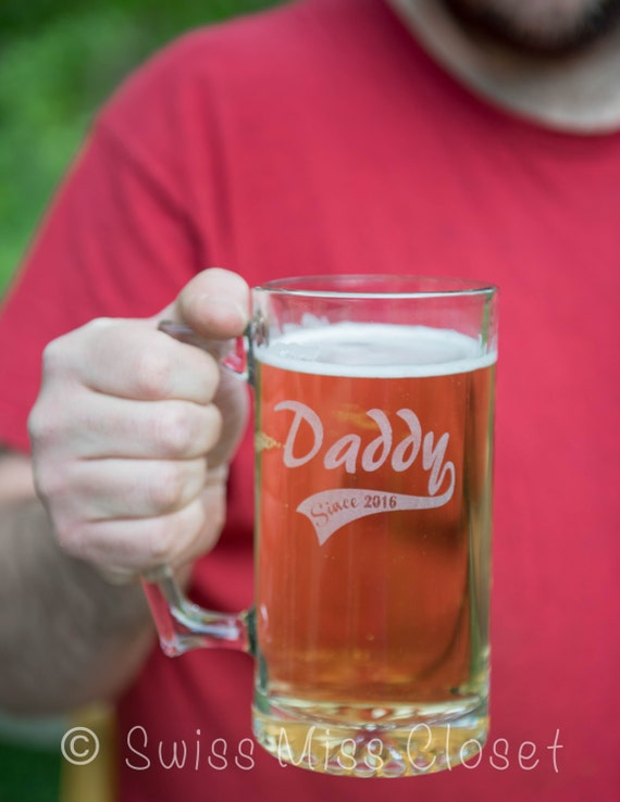 Custom Etched Beer Mug Father's Day Baseball Daddy Since Custom Gift