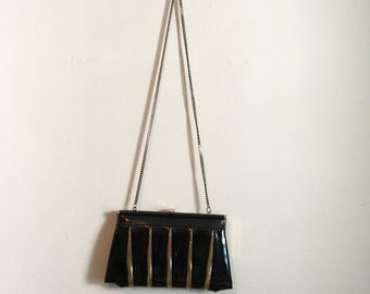80s black and gold clutch purse, chain purse - vintage -