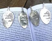 Vintage spoon bookmark - metal stamped by hand