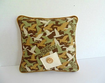 Duck Dynasty Camouflage Pillow , PersonalizedTooth Fairy Pillow, Boys Camo Pillow, Boys Olive Green and Brown Pillow