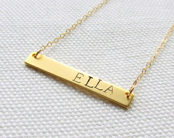 Gold Nameplate Necklace Custom Personalized Gold Skinny Bar Necklace Hand Stamped Customized Name