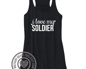I love my Soldier Army Racerback Tank Top Shirt, army wife tank top, army girlfriend tank top, army fiance, army mom shirt, army clothing
