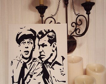 """Hand Painted ANDY GRIFFITH Andy Griffin Barney Fife Canvas 12""""x16"""""""