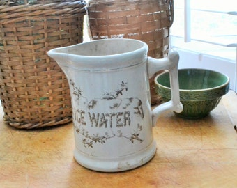 Rare Antique Hotel Ironstone Pitcher, Ice Water Pitcher, K T & K, Knowles, Taylor and Knowles, Hotel Ware