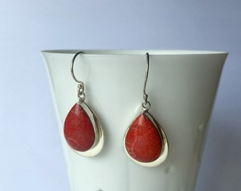 Red Coral Earrings, Coral Drop Earrings, Coral Dangle Earrings, Red sponge coral earrings, Valentine's Gift Idea