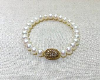 White pearl charm bracelet/ stackable bracelet / wedding jewelry / friendship bracelet