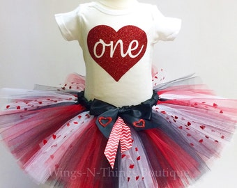 FIRST BIRTHDAY TUTU Skirt 2pc Set w/ Body Suit, Valentines Day, Heart, 1st, One, Cupid, Toddler, Baby, Photo Prop, Party, Cake Smash, Shirt