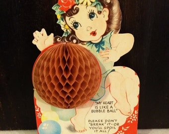 Vintage Die Cut Valentine's Day Card, Little Girl with Honeycomb Bubble Ball, circa 1930s