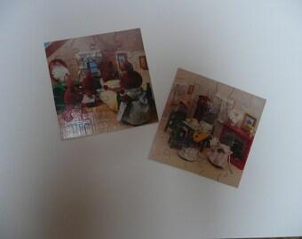 2 Sylvanian Families Waddingtons 20 Piece hand cut wood puzzle 1980s by Epoch Co Ltd