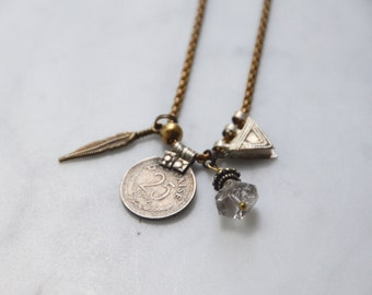 G Y P S E T - Antique Charm and Herkimer Diamond Trinket Necklace