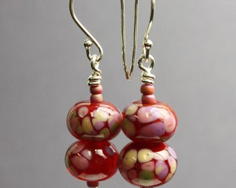 Burgundy Red and Pink Beaded Earrings, Artisan Earrings, Red Earrings, Bead Earrings, Red Dangle Earrings, Handmade Earring, Kathy Bankston