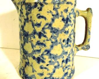 Blue Spongeware Pitcher Antique Rustic Farm Pitcher