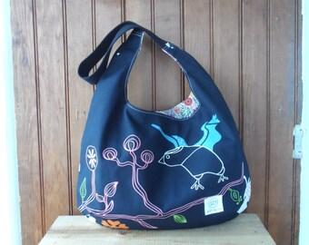 Hobo Purse -  light canvas bird hobo bag