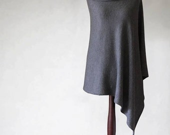 Pullover sweater, turtleneck poncho, women poncho, knit poncho, gray poncho, women sweater, gray cape,gray sweater,knit sweater,wrap sweater