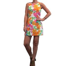 Mod Floral Mini Dress/Mod Sixties Mini Dress/Orange Flowers/ Pink Flowers/ Green Flowers/ Yellow Flowers/ Flower Power/ 90's Dress/ Nineties