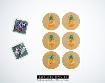 Pineapple Stickers. Kraft Brown Stickers. Tropical Party Favor Seals. Pineapple Labels. Pineapple Envelope Seals