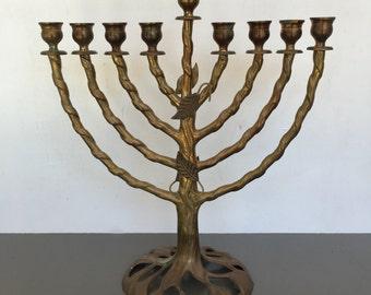 vintage large brass Menorah Hanukkah Judaica