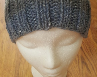 Knitted blue slouchy beanie