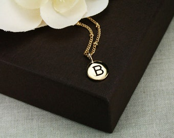 Gold initial necklace, gold necklace, gold initial charm, gold charm necklace, personalized gold letter necklace, initial charm gold letter