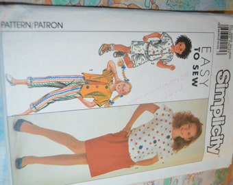 Simplicity 9636 Girls Skirt Pants Shorts and Tops  Sewing Pattern - UNCUT - Size Sm Md LG