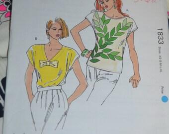 Kwik Sew 1833 Misses Tops Sewing Pattern - UNCUT - Sizes Xs S M L XL