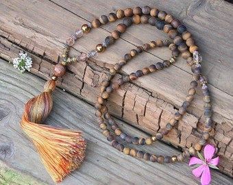 Beautiful frosted tiger eye gemstone mala necklace