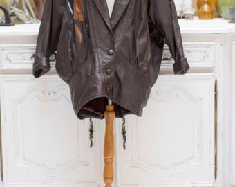 Vintage 1980's Oversized Long Brown Leather Jacket