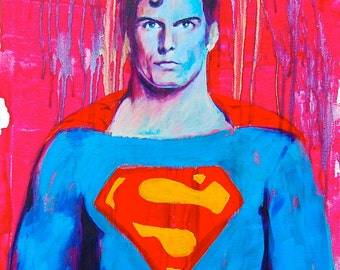 "Superman 12""x18"" Poster Print Superheroe DC Comic Print Wall Art Colorful Abstract Pop Art"