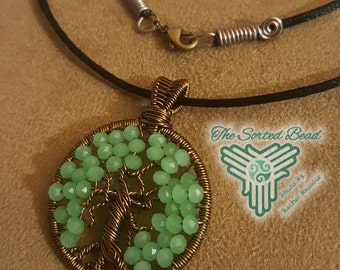 Tree of Life – Green Crystal and Natural Brass Wire Wrapped Pendant on Satin Cord Free Domestic Shipping