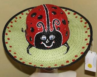 Ladybug Hand Painted Sun Hat