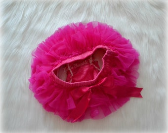 Hot Pink Chiffon All The Way Around Ruffle Bum Baby Tutu Bloomer Diaper Cover with Satin Bow Photo Prop, Fits Newborn 6 9 12 18 24 month