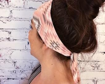 Tie-Back Headband - Navajo Peach - Boho Headband - Yoga Headband - Eco Friendly