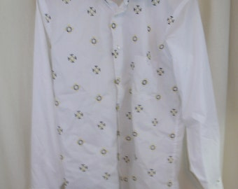 Vintage 60s 70s  Geometric Mod Emdroidered  Squares Mens Shirt L 16