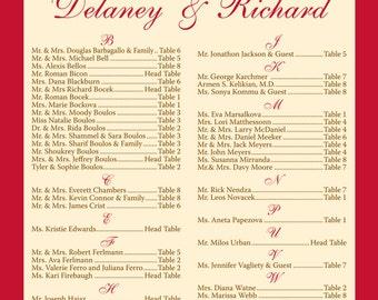 Delaney & Richard Modern Reception Seating Chart Board