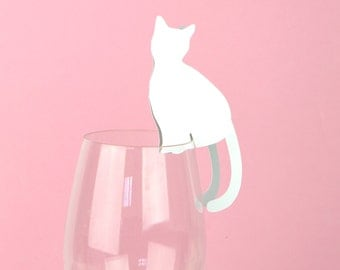Cat Wine Glass Place Cards Set of 24