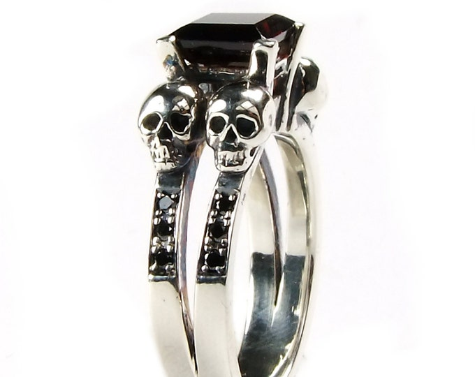 Woman's Double Skull Ring with Natural Red Garnet Gemstone in Sterling Silver with Diamond Bands for Wedding or Engagement - All Sizes