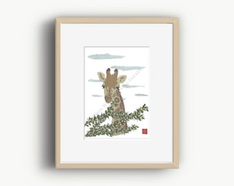 Giraffe Art Print, African Animal Art, Giraffe Artwork, Safari Art, Giraffe Lover Gift