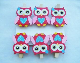 6 Owl wooden peg ornaments - owl decorations - owl wooden pegs - birthday party ornaments - owl card clips - owl themed - owl favours - owl