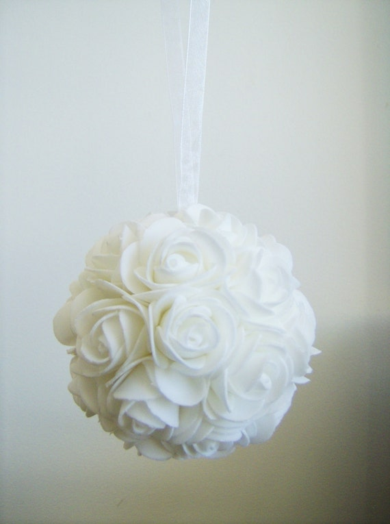Single white cm foam flower ball wedding pew rose