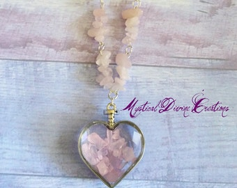 Rose Quartz Necklace-Rose Quartz Pendant-Rose Quartz Jewelry-Heart Pendant-Rose Quartz-Rose Quartz Crystal-Chakra Necklace