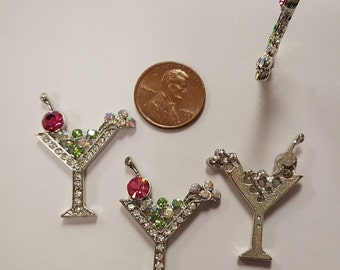 1 Green Martini Rhinestone Cocktail Drink With Cherry 32mm Cabochon Finding R783