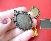 Pendant Tray Setting Frame for Cabochons Stamps Mixed Media (5 pieces in bronze, brass, gold)