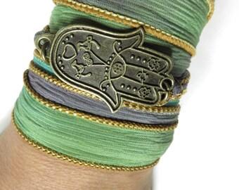Hamsa Silk Wrap Bracelet Yoga Jewelry Protection Evil Eye Spring Wrap Bracelet Hand Of Fatima Wrist Wrap Bracelet Mother's Day Unique Gift